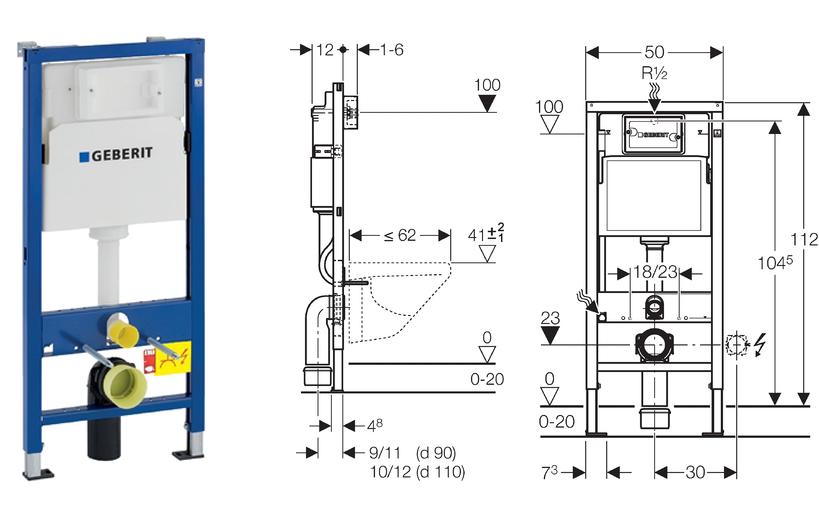 geberit duofix basic wc vorwandelement up100 platte delta50 schallschutz ebay. Black Bedroom Furniture Sets. Home Design Ideas