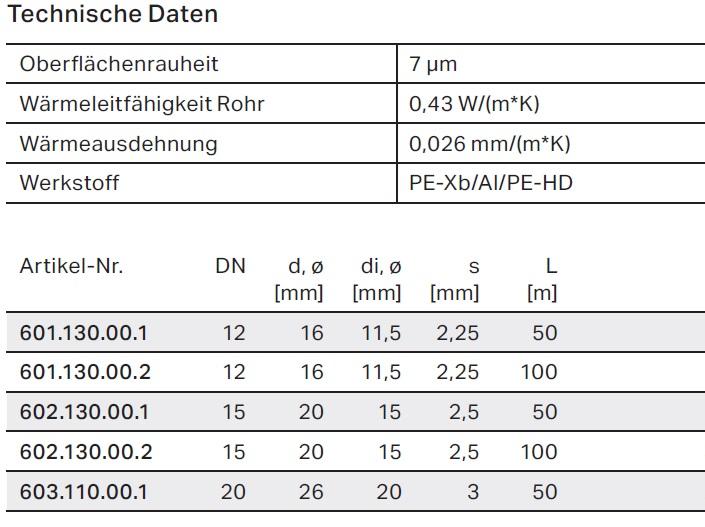 Geberit Mepla Metallverbundrohr 26 x 3,0 mm 50 m RING 603.110.00.1