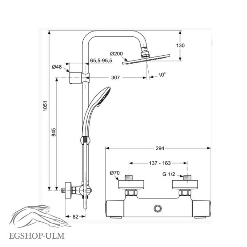 ideal standard rain duschsystem ceratherm 100 mit brausethermostat ap a5686aa ebay. Black Bedroom Furniture Sets. Home Design Ideas
